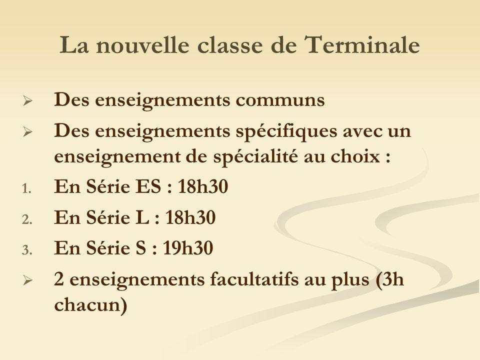 La nouvelle classe de Terminale Des enseignements communs Des enseignements spécifiques avec un enseignement de spécialité au choix : 1.