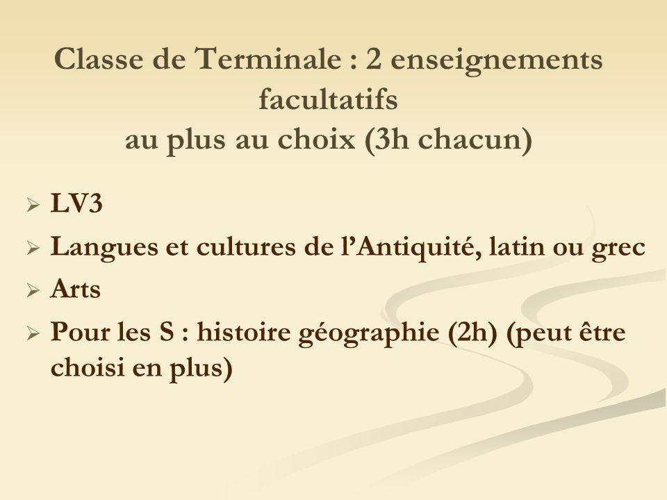 Classe de Terminale : 2 enseignements facultatifs au plus au choix (3h chacun) LV3 Langues et cultures de lAntiquité, latin ou grec Arts Pour les S : histoire géographie (2h) (peut être choisi en plus)
