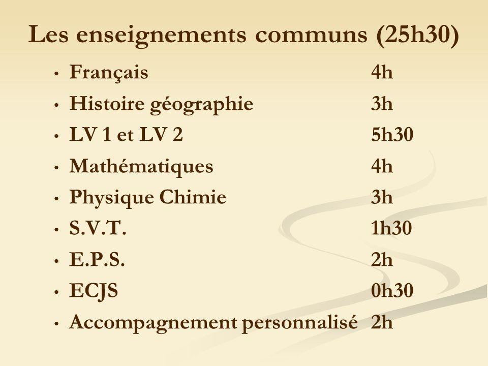 Les enseignements communs (25h30) Français4h Histoire géographie3h LV 1 et LV 2 5h30 Mathématiques4h Physique Chimie3h S.V.T.1h30 E.P.S.2h ECJS 0h30 Accompagnement personnalisé2h