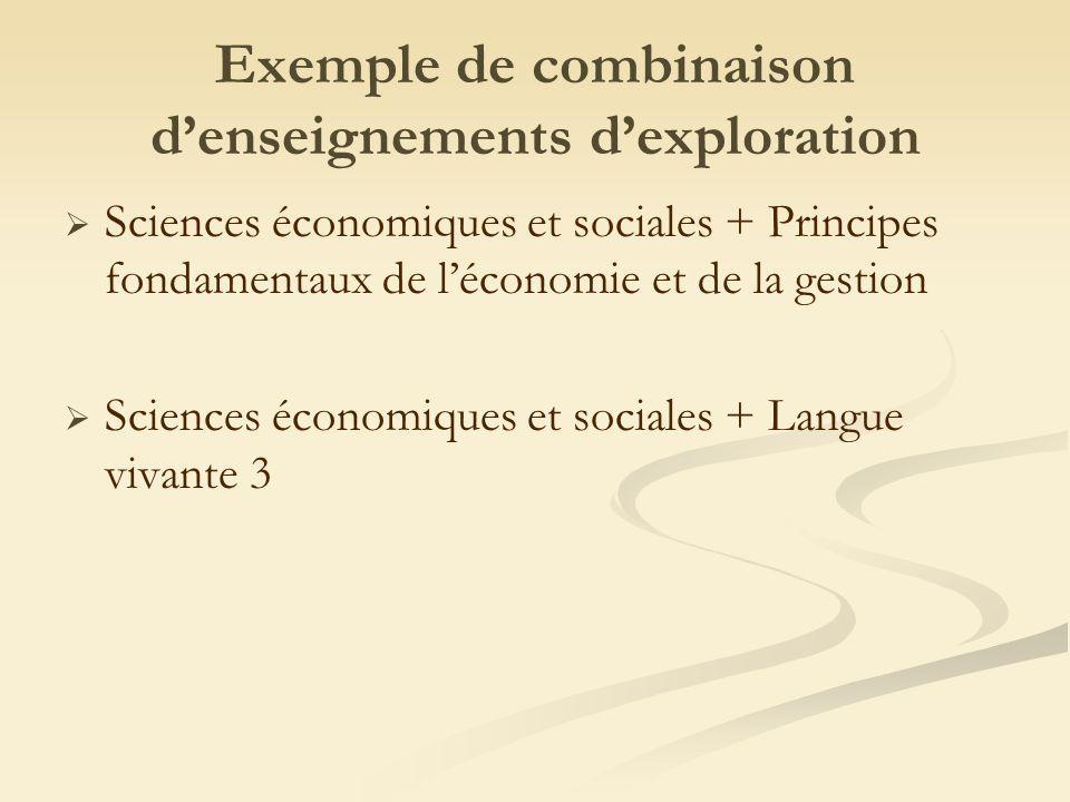 Exemple de combinaison denseignements dexploration Sciences économiques et sociales + Principes fondamentaux de léconomie et de la gestion Sciences économiques et sociales + Langue vivante 3