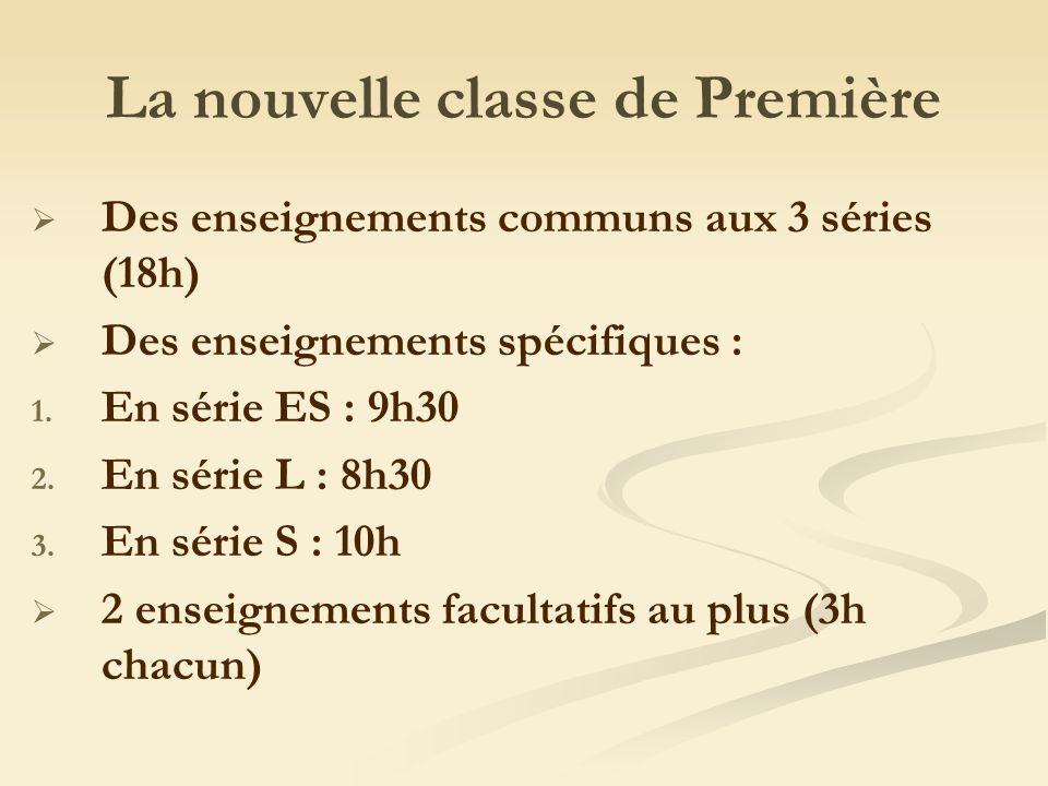 La nouvelle classe de Première Des enseignements communs aux 3 séries (18h) Des enseignements spécifiques : 1.
