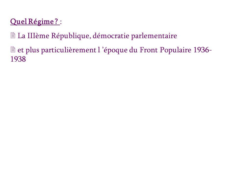 Quel Régime ? : 2 La IIIème République, démocratie parlementaire 2 et plus particulièrement l époque du Front Populaire 1936- 1938