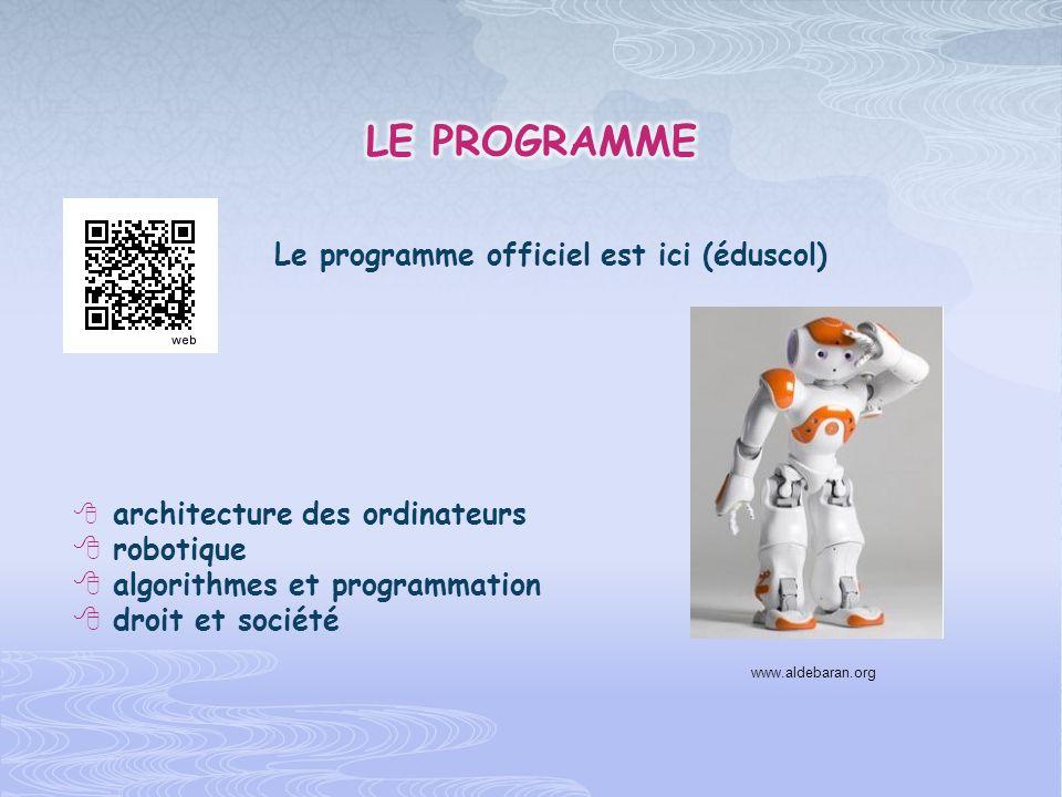 Le programme officiel est ici (éduscol) architecture des ordinateurs robotique algorithmes et programmation droit et société www.aldebaran.org