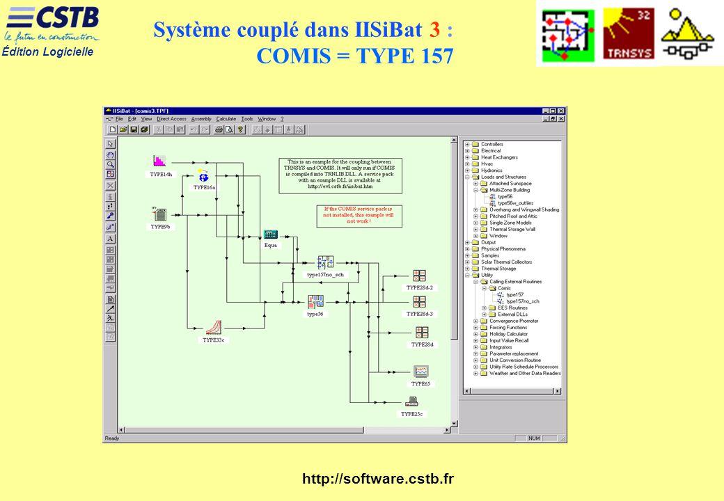 Édition Logicielle http://software.cstb.fr Système couplé dans IISiBat 3 : COMIS = TYPE 157