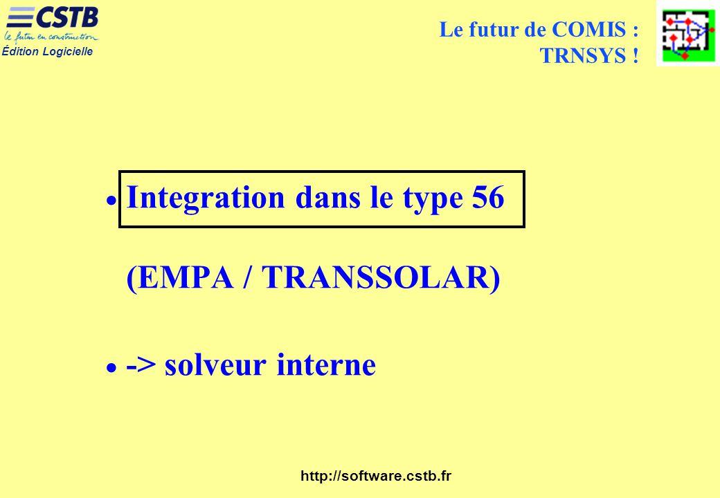 Édition Logicielle http://software.cstb.fr Le futur de COMIS : TRNSYS ! Integration dans le type 56 (EMPA / TRANSSOLAR) -> solveur interne