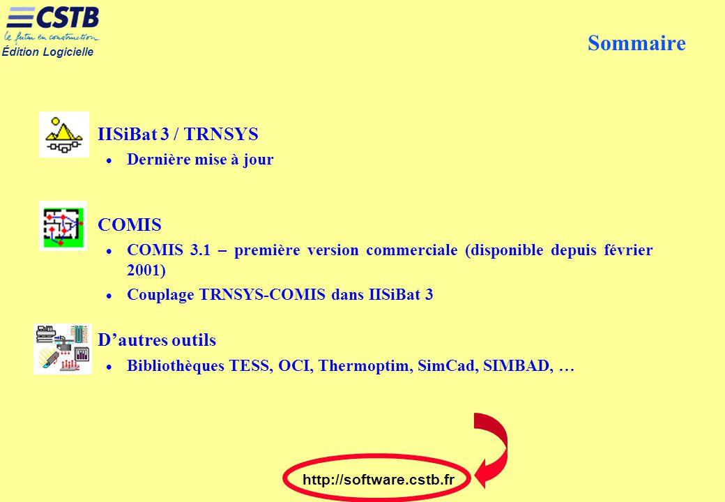 Édition Logicielle http://software.cstb.fr Sommaire IISiBat 3 / TRNSYS Dernière mise à jour COMIS COMIS 3.1 – première version commerciale (disponible