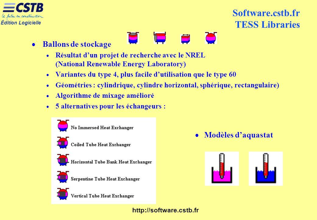 Édition Logicielle http://software.cstb.fr Software.cstb.fr TESS Libraries Ballons de stockage Résultat dun projet de recherche avec le NREL (National