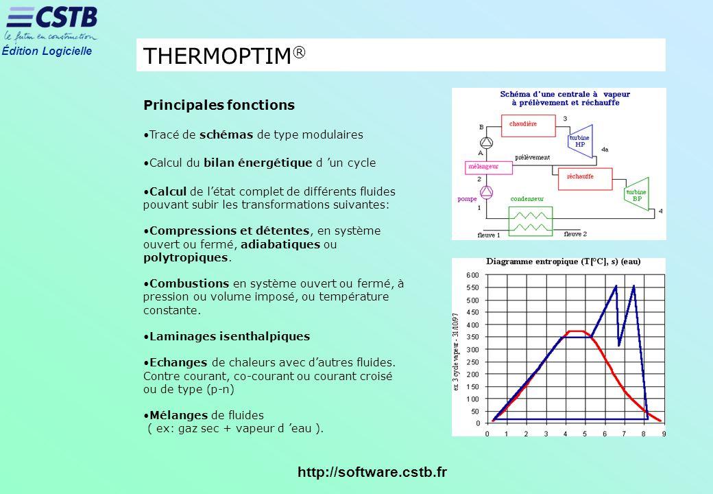 Édition Logicielle http://software.cstb.fr THERMOPTIM ® Principales fonctions Tracé de schémas de type modulaires Calcul du bilan énergétique d un cyc