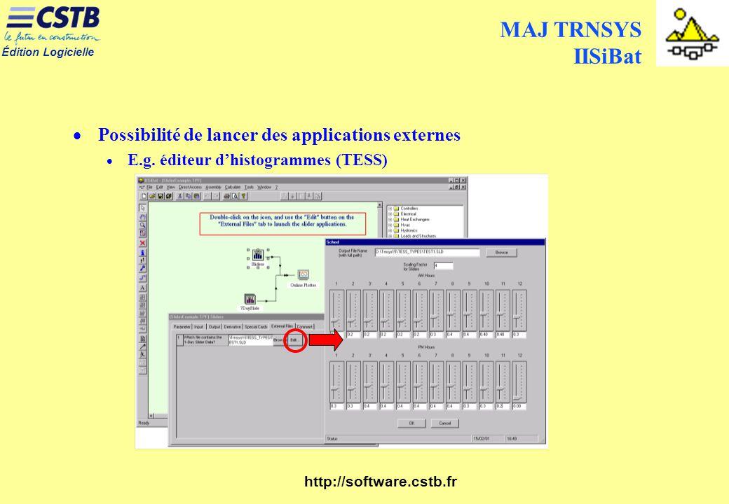 Édition Logicielle http://software.cstb.fr MAJ TRNSYS IISiBat Possibilité de lancer des applications externes E.g. éditeur dhistogrammes (TESS)