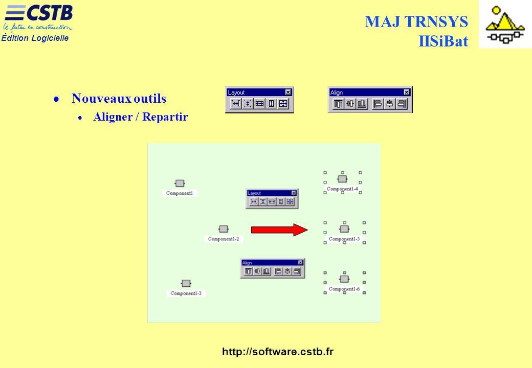 Édition Logicielle http://software.cstb.fr MAJ TRNSYS IISiBat Nouveaux outils Aligner / Repartir