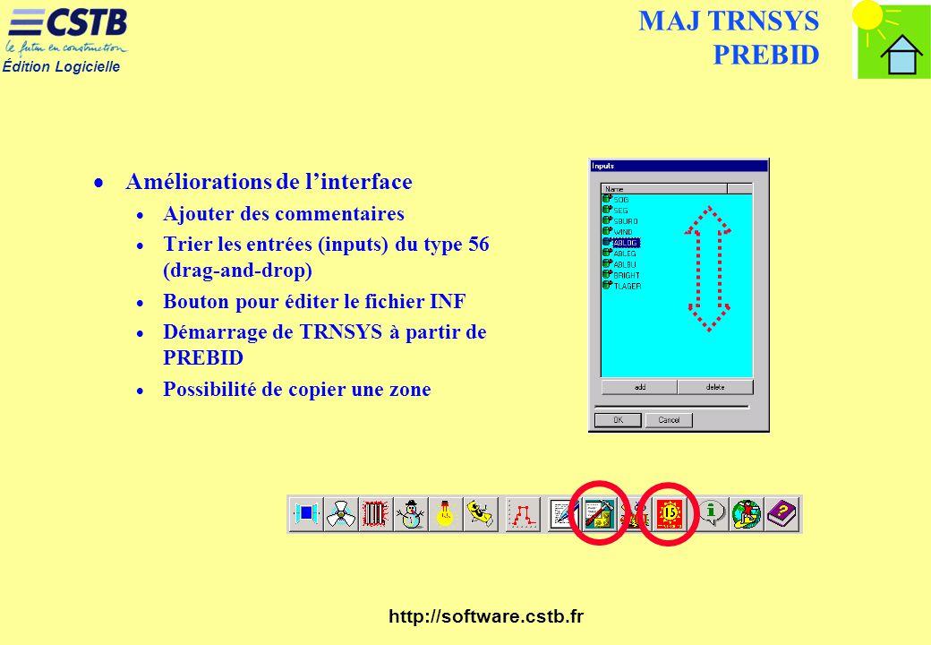 Édition Logicielle http://software.cstb.fr MAJ TRNSYS PREBID Améliorations de linterface Ajouter des commentaires Trier les entrées (inputs) du type 5