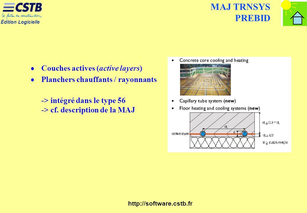 Édition Logicielle http://software.cstb.fr MAJ TRNSYS PREBID Couches actives (active layers) Planchers chauffants / rayonnants -> intégré dans le type