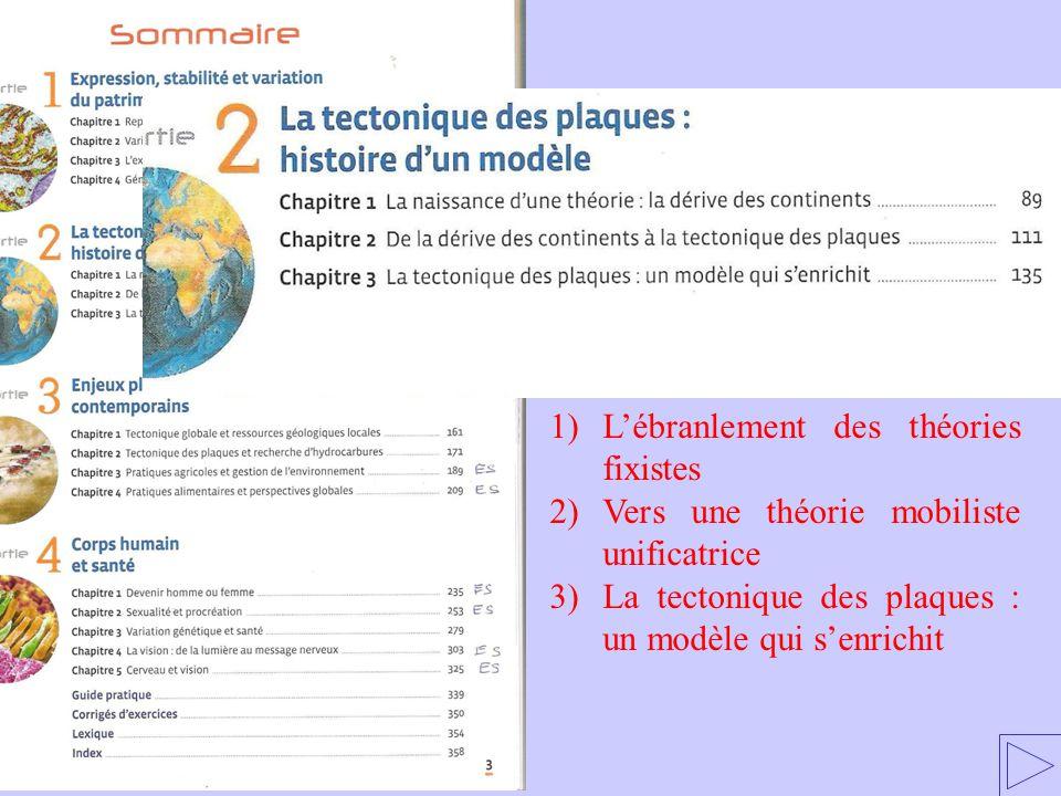 1)Lébranlement des théories fixistes 2)Vers une théorie mobiliste unificatrice 3)La tectonique des plaques : un modèle qui senrichit
