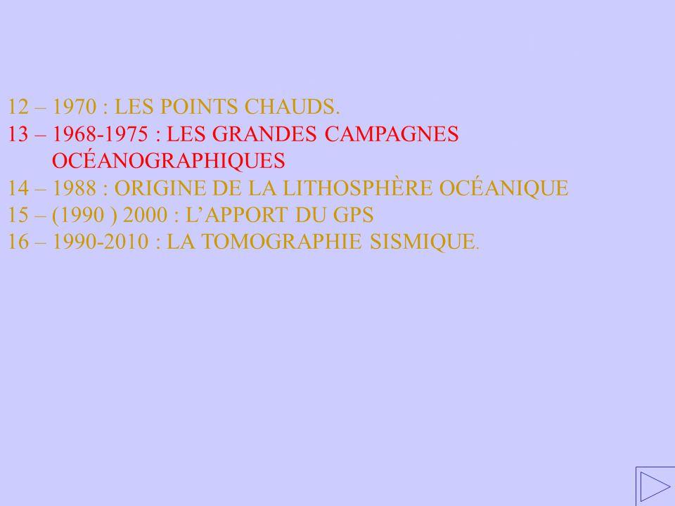 13 – 1968-1975 : LES GRANDES CAMPAGNES OCÉANOGRAPHIQUES 12 – 1970 : LES POINTS CHAUDS.