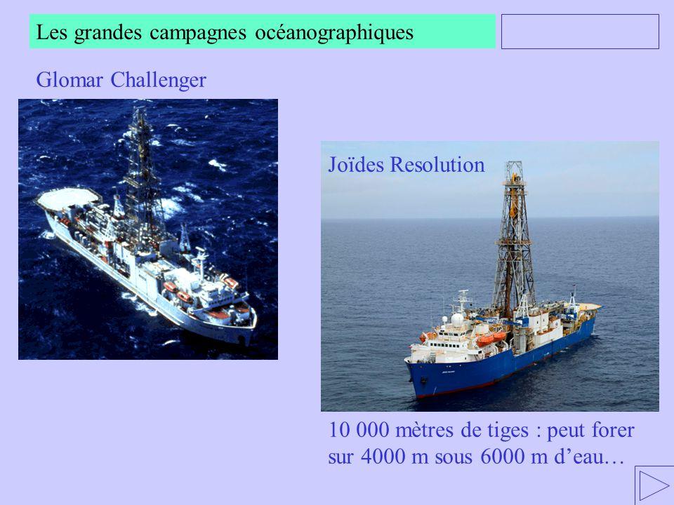 Les grandes campagnes océanographiques Glomar Challenger Joïdes Resolution 10 000 mètres de tiges : peut forer sur 4000 m sous 6000 m deau…