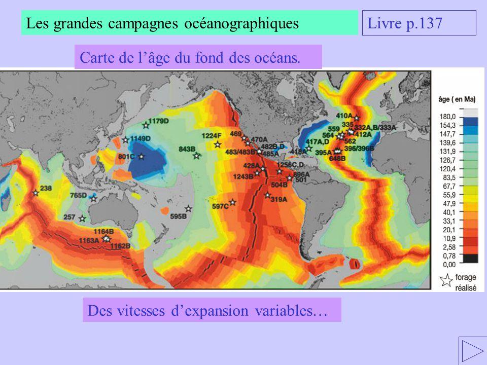 Livre p.137 Des vitesses dexpansion variables… Carte de lâge du fond des océans.