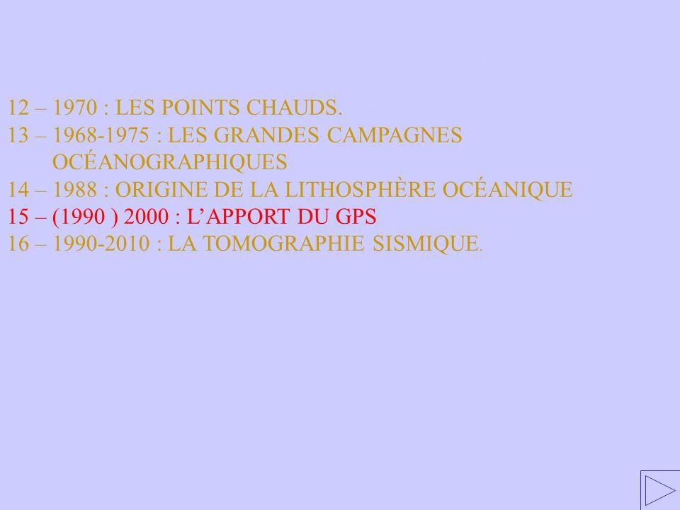 15 – 1990-2000 : LES APPORTS DU GPS 12 – 1970 : LES POINTS CHAUDS. 13 – 1968-1975 : LES GRANDES CAMPAGNES OCÉANOGRAPHIQUES 14 – 1988 : ORIGINE DE LA L
