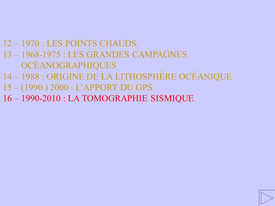 16 – 1990-2010 : LA TOMOGRAPHIE SISMIQUE 12 – 1970 : LES POINTS CHAUDS. 13 – 1968-1975 : LES GRANDES CAMPAGNES OCÉANOGRAPHIQUES 14 – 1988 : ORIGINE DE