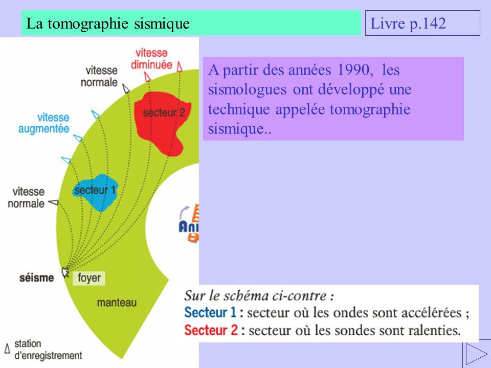 La tomographie sismique Livre p.142 A partir des années 1990, les sismologues ont développé une technique appelée tomographie sismique..