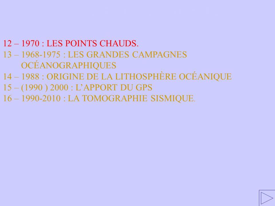 12 –1970 : LES POINTS CHAUDS 12 – 1970 : LES POINTS CHAUDS. 13 – 1968-1975 : LES GRANDES CAMPAGNES OCÉANOGRAPHIQUES 14 – 1988 : ORIGINE DE LA LITHOSPH