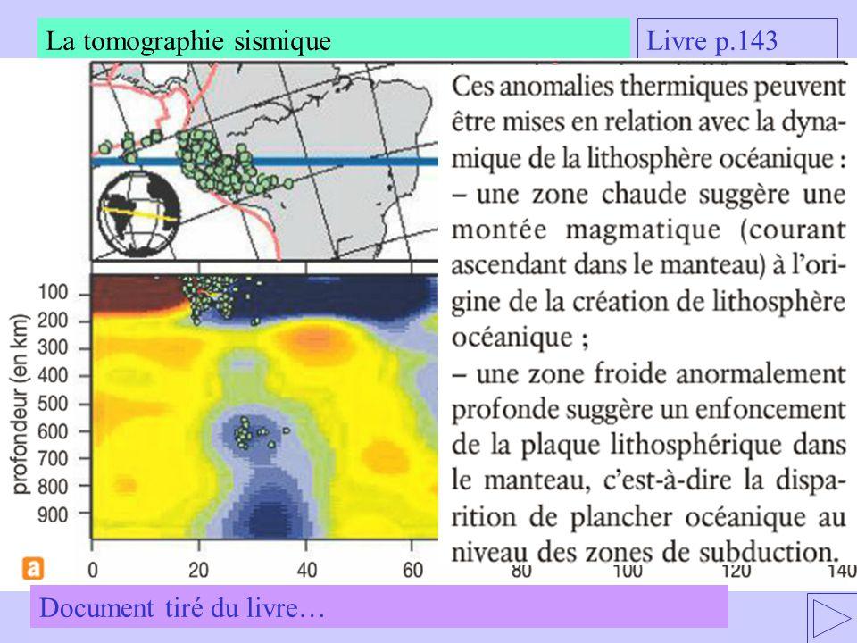 La tomographie sismique Livre p.143 Document tiré du livre…