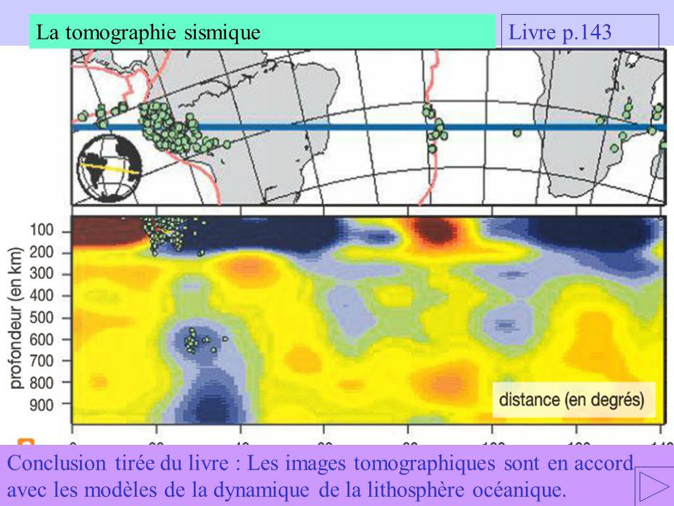 Conclusion tirée du livre : Les images tomographiques sont en accord avec les modèles de la dynamique de la lithosphère océanique. La tomographie sism