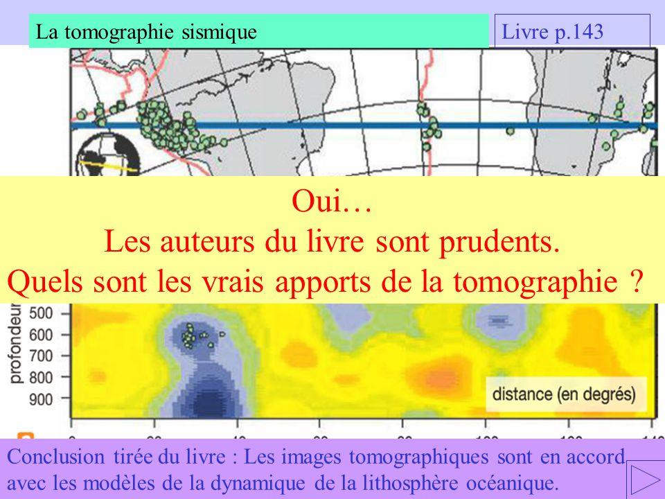 Conclusion tirée du livre : Les images tomographiques sont en accord avec les modèles de la dynamique de la lithosphère océanique.