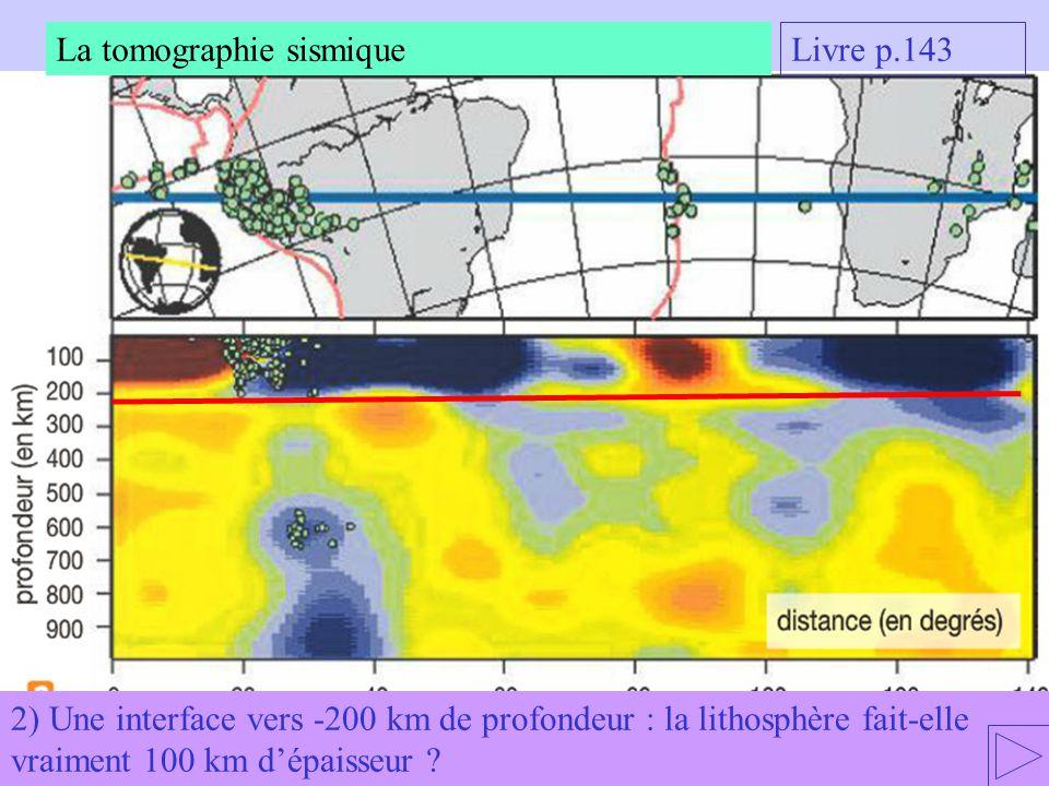 2) Une interface vers -200 km de profondeur : la lithosphère fait-elle vraiment 100 km dépaisseur ? La tomographie sismique Livre p.143