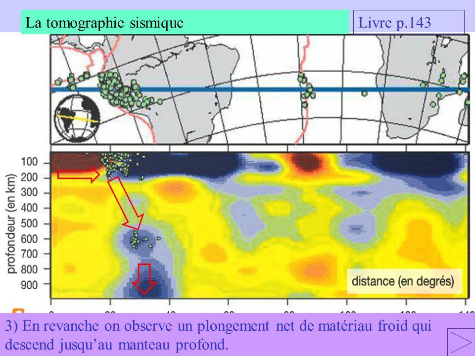 3) En revanche on observe un plongement net de matériau froid qui descend jusquau manteau profond. La tomographie sismique Livre p.143