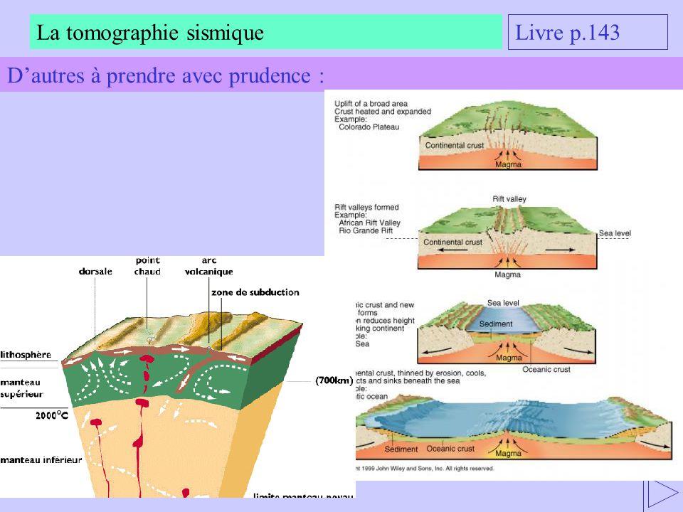 La tomographie sismique Livre p.143 Dautres à prendre avec prudence :