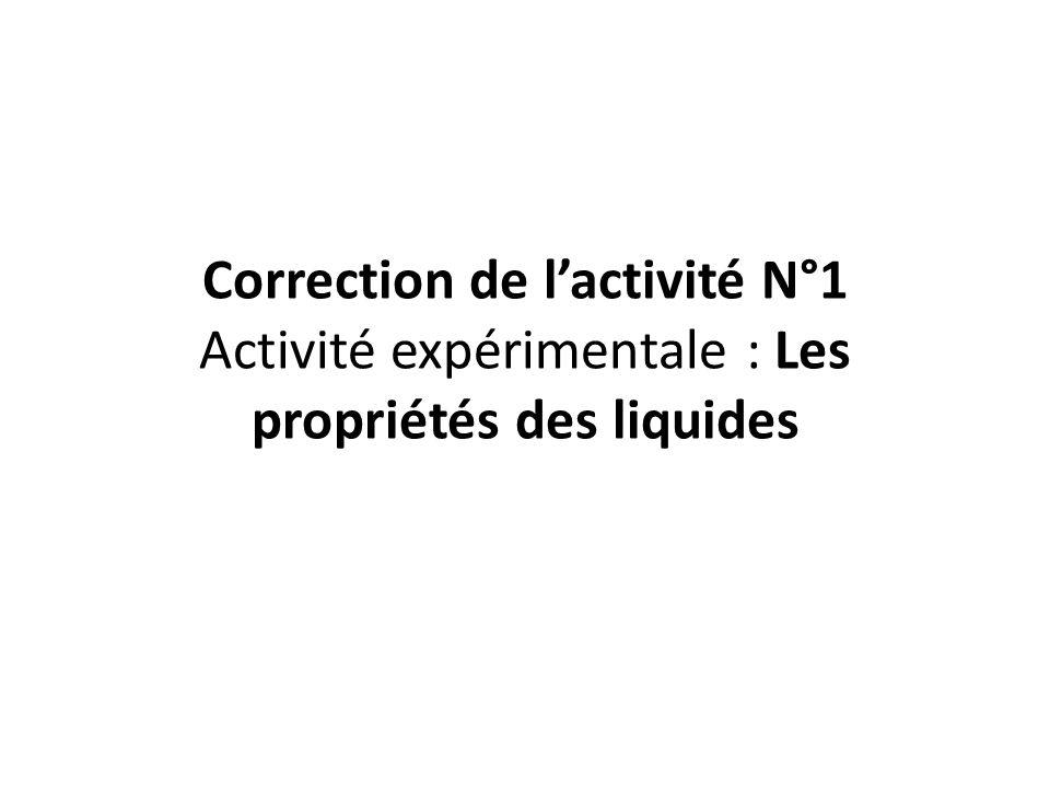 Correction de lactivité N°1 Activité expérimentale : Les propriétés des liquides