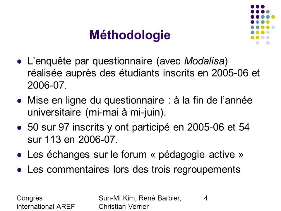 Congrès international AREF 2007 28-31 août, Strasbourg Sun-Mi Kim, René Barbier, Christian Verrier Laboratoire EXPERICE, Paris 8-Paris 13 smkimfr@yaho