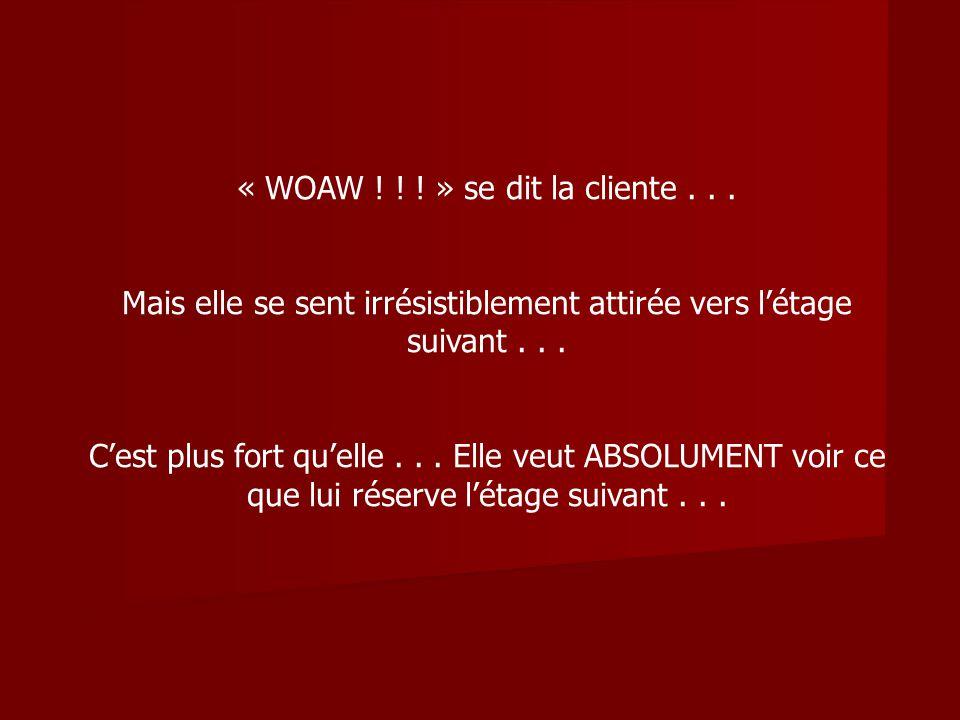 « WOAW .» se dit la cliente... Mais elle se sent irrésistiblement attirée vers létage suivant...