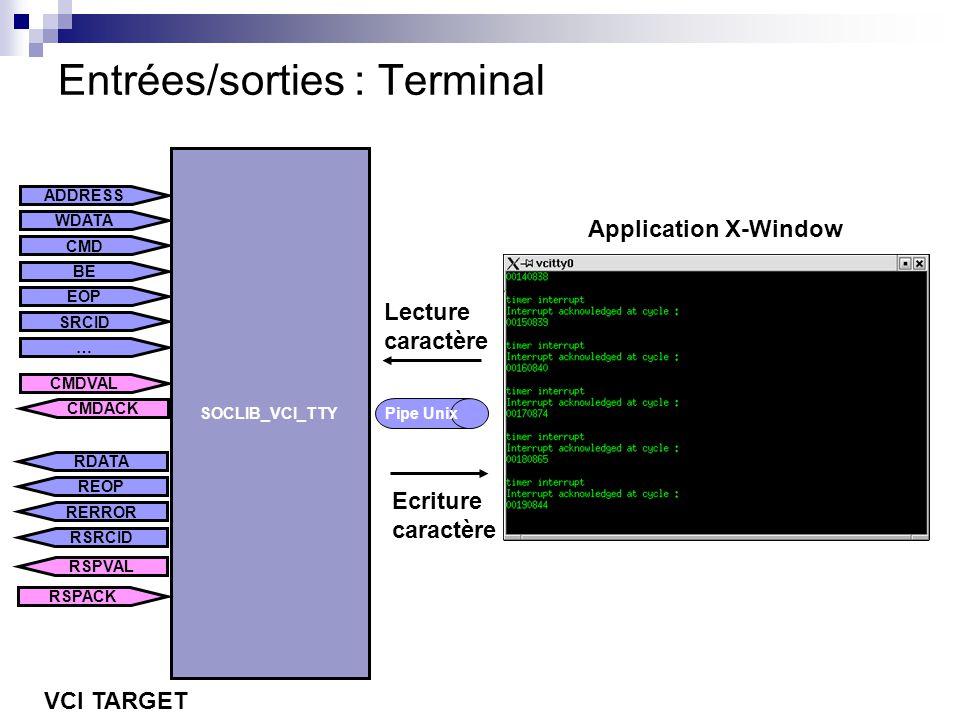 Entrées/sorties : Terminal ADDRESS CMD BE WDATA EOP SRCID … CMDVAL CMDACK SOCLIB_VCI_TTY REOP RERROR RDATA RSRCID RSPACK RSPVAL VCI TARGET Pipe Unix E