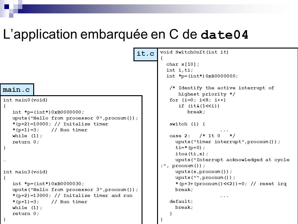 Lapplication embarquée en C de date04 main.c int main0(void) { int *p=(int*)0xB0000000; uputs(