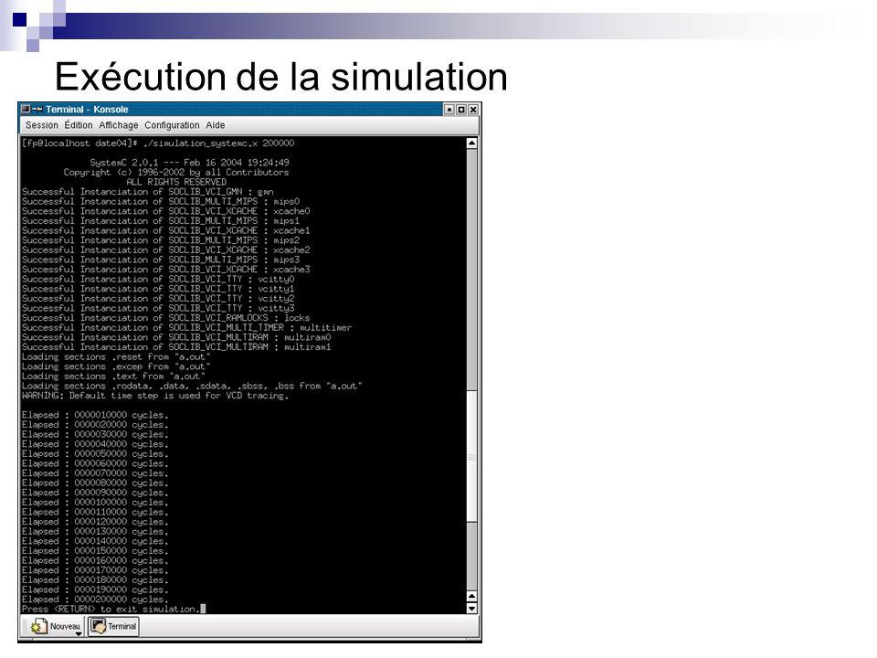 Exécution de la simulation