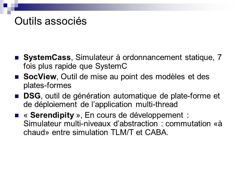 Outils associés SystemCass, Simulateur à ordonnancement statique, 7 fois plus rapide que SystemC SocView, Outil de mise au point des modèles et des pl