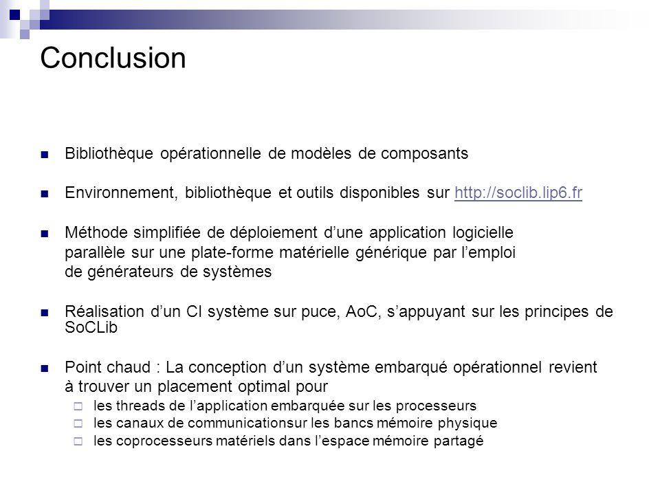 Conclusion Bibliothèque opérationnelle de modèles de composants Environnement, bibliothèque et outils disponibles sur http://soclib.lip6.frhttp://socl