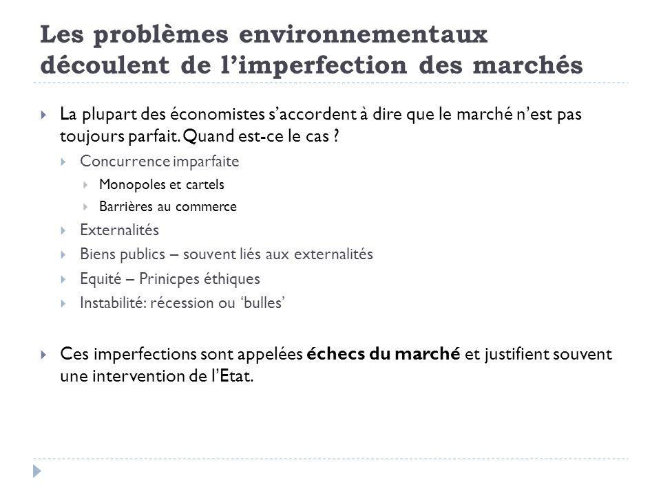 Les problèmes environnementaux découlent de limperfection des marchés La plupart des économistes saccordent à dire que le marché nest pas toujours parfait.