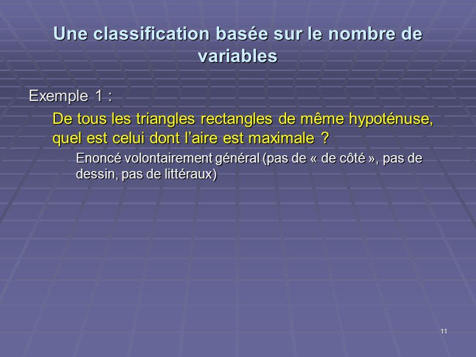 Une classification basée sur le nombre de variables Exemple 1 : De tous les triangles rectangles de même hypoténuse, quel est celui dont laire est max