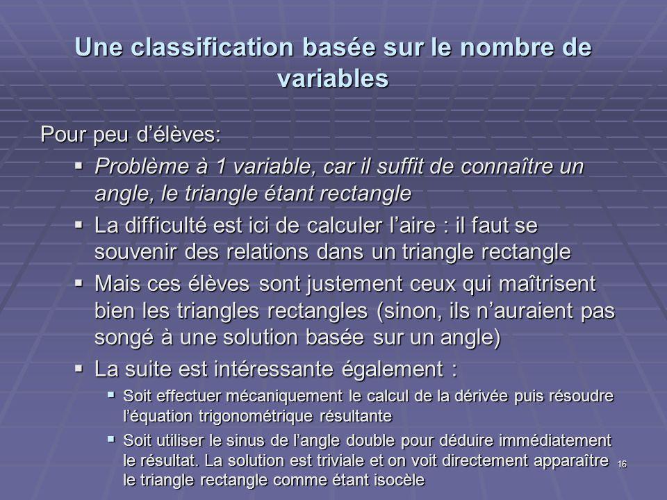 Une classification basée sur le nombre de variables Pour peu délèves: Problème à 1 variable, car il suffit de connaître un angle, le triangle étant re