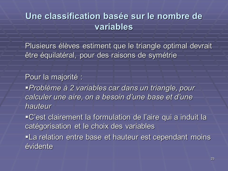 Une classification basée sur le nombre de variables Plusieurs élèves estiment que le triangle optimal devrait être équilatéral, pour des raisons de symétrie Pour la majorité : Problème à 2 variables car dans un triangle, pour calculer une aire, on a besoin dune base et dune hauteur Problème à 2 variables car dans un triangle, pour calculer une aire, on a besoin dune base et dune hauteur Cest clairement la formulation de laire qui a induit la catégorisation et le choix des variables Cest clairement la formulation de laire qui a induit la catégorisation et le choix des variables La relation entre base et hauteur est cependant moins évidente La relation entre base et hauteur est cependant moins évidente 23