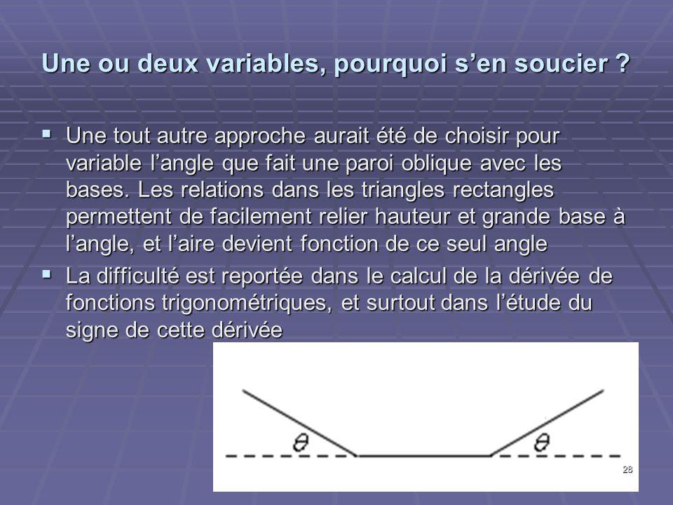 Une ou deux variables, pourquoi sen soucier ? Une tout autre approche aurait été de choisir pour variable langle que fait une paroi oblique avec les b