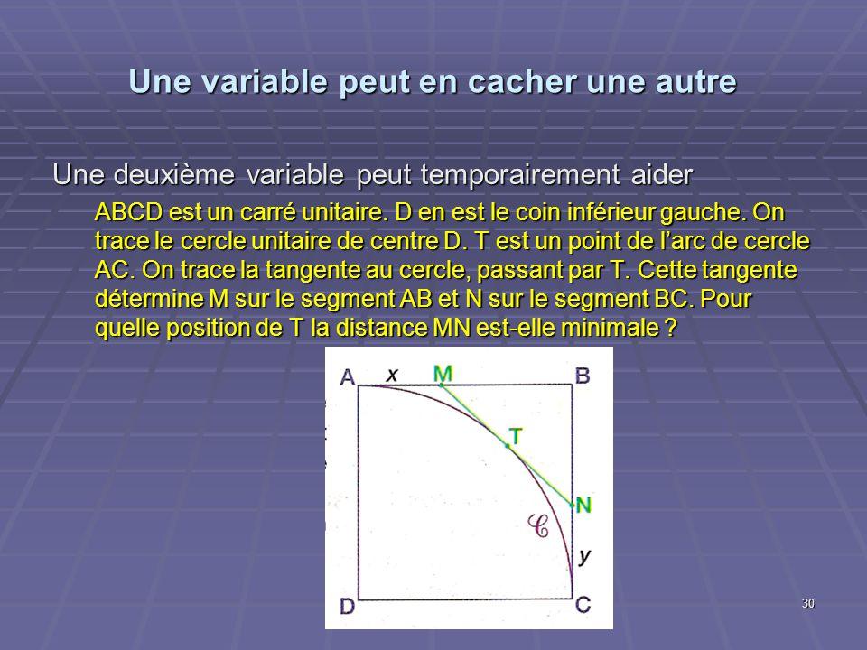 Une variable peut en cacher une autre Une deuxième variable peut temporairement aider ABCD est un carré unitaire. D en est le coin inférieur gauche. O