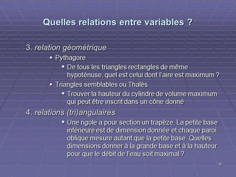 Quelles relations entre variables ? 3. relation géométrique Pythagore Pythagore De tous les triangles rectangles de même hypoténuse, quel est celui do