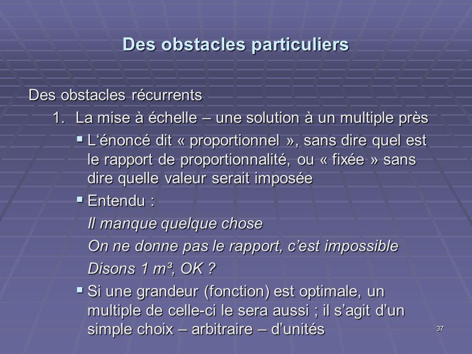 Des obstacles particuliers Des obstacles récurrents 1.La mise à échelle – une solution à un multiple près Lénoncé dit « proportionnel », sans dire que