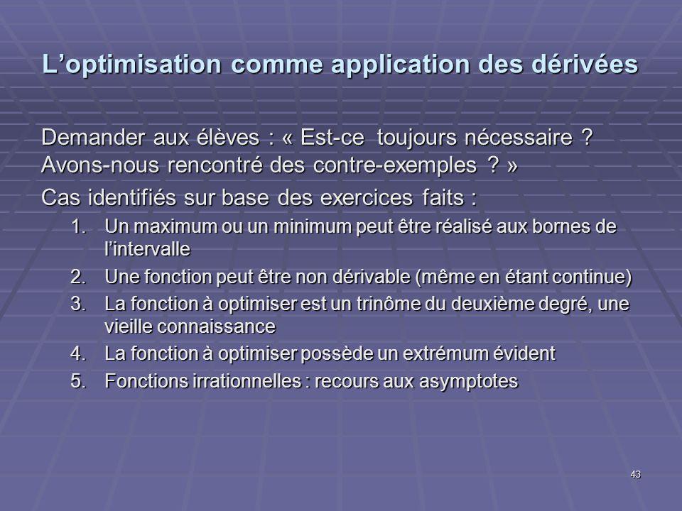 Loptimisation comme application des dérivées Demander aux élèves : « Est-ce toujours nécessaire .