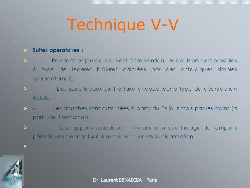 Dr Laurent BENADIBA - Paris Technique V-V Suites opératoires : - Pendant les jours qui suivent lintervention, les douleurs sont possibles à type de légères brûlures calmées par des antalgiques simples (paracétamol).