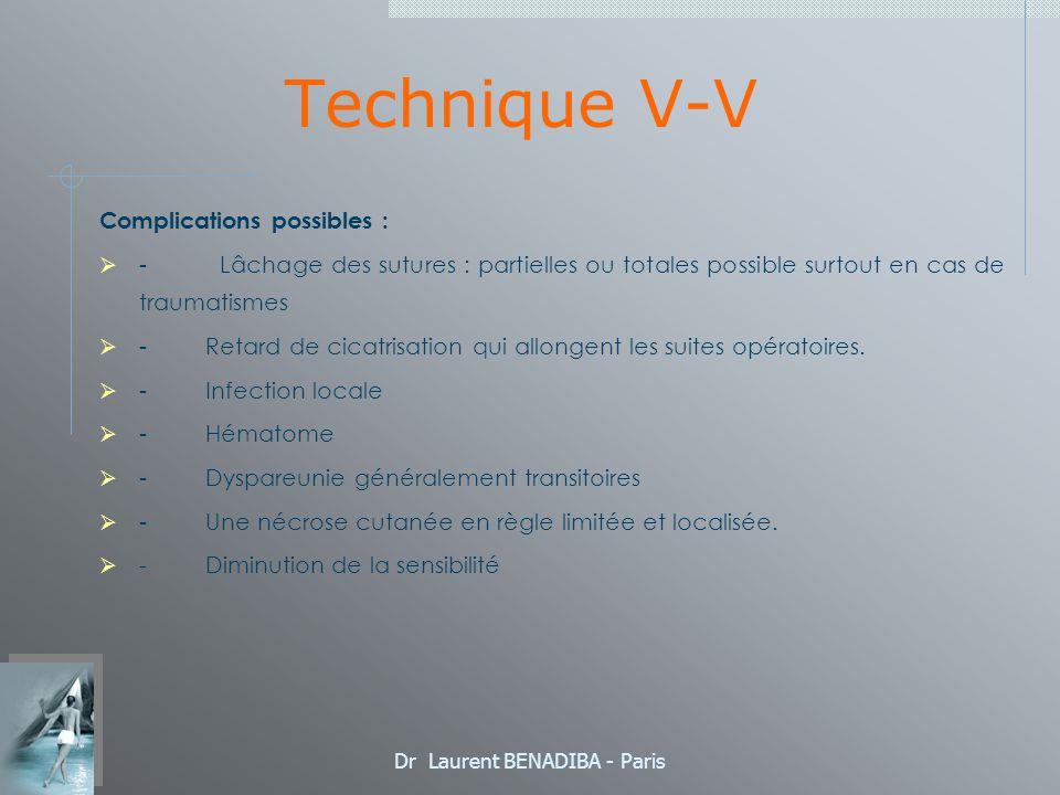 Dr Laurent BENADIBA - Paris Technique V-V Complications possibles : - Lâchage des sutures : partielles ou totales possible surtout en cas de traumatismes - Retard de cicatrisation qui allongent les suites opératoires.