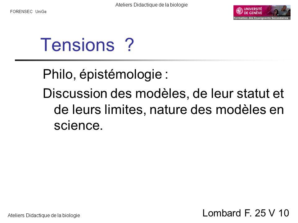 FORENSEC UniGe Ateliers Didactique de la biologie Lombard F. 25 V 10 Tensions ? Philo, épistémologie : Discussion des modèles, de leur statut et de le